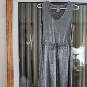 New Dolan Left Coast Silver Metallic Knit Dress, S